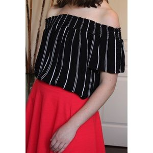 Target Black & White Stripped Off the Shoulder Top